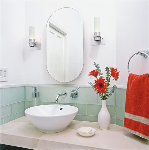 mint red modern vintage bathroom subway